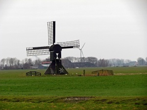 photo of pretty windmill in the netherlands or holland